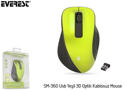 Everest SM-360 Usb Yeşil 3D Optik Süper Sessiz Alkalin Pil Kablosuz Mouse