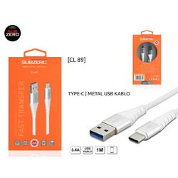 Subzero - Subzero Cl89 Type-c 3.4a Metal Başlık Hızlı Şarj Kablosu CL89